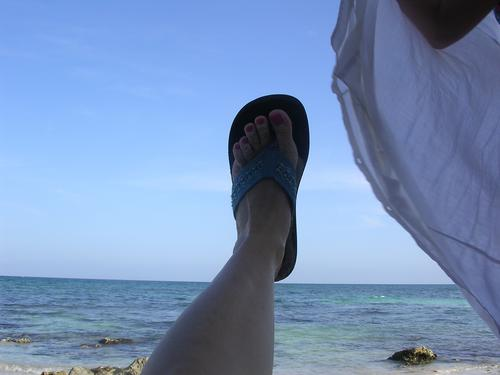 pretentious foot photo (with ocean)